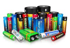 Collection of different batteries - stock photo