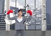 Stock Illustration of Composite image of businesswoman with boxing gloves