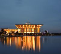 Blue Hour Mosque With Reflection,Putrajaya,Malaysia. Stock Photos