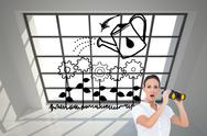 Stock Illustration of Composite image of astonished elegant businesswoman holding binoculars