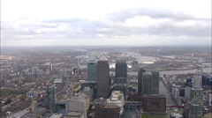 Aerial view directly above the distinctive towers of London's financial district Stock Footage