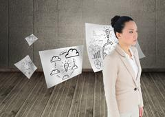 Composite image of unsmiling asian businesswoman - stock illustration