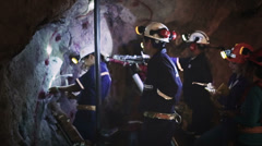 Worker in tunnel mine Stock Footage