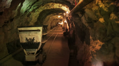 Mine cart in tunnel Stock Footage