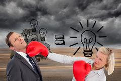 Composite image of businesswoman hitting colleague with her boxing gloves - stock illustration