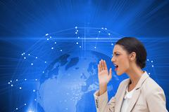 Composite image of confident businesswoman calling for someone - stock illustration