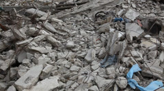 Rubble from rocket attack, earthquake, tornado, typhoon, hurricane - stock footage
