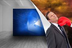 Composite image of businesswoman hitting colleague with her boxing gloves Stock Illustration