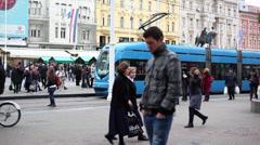People at Ban Jelačić Square - stock footage