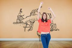 Stock Illustration of Composite image of laughing teenage wearing casual clothes while raising her