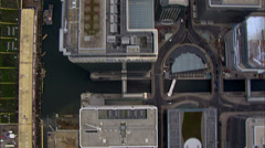 Stock Video Footage of Aerial view directly above the distinctive towers of London's financial district