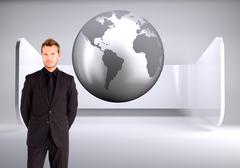 Composite image of young businessman looking at the camera Stock Illustration