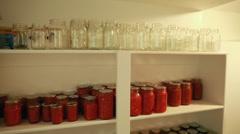 Canned food on a storage shelf Stock Footage