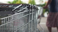 Pulling Out Shopping Cart - stock footage