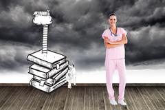 Composite image of beautiful nurse standing in front of the camera with folded Stock Illustration