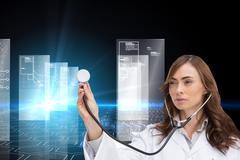 Composite image of thoughtful doctor using stethoscope Stock Illustration