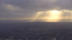 Stock Video Footage of Aerial view of sunrise above the city of London