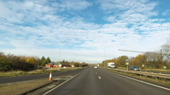 Timelapse travel on the A14 dual carriageway road in England - stock footage