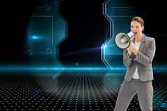 Composite image of businesswoman talking on a megaphone - stock illustration