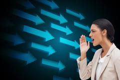 Stock Illustration of Composite image of confident businesswoman calling for someone