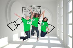 Composite image of enviromental activists jumping and smiling Stock Illustration