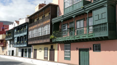 18th century mansions ornate balconies, santa cruz, la palma, spain Stock Footage