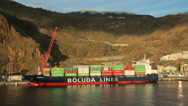 Stock Video Footage of container ship, early morning, santa cruz, la palma, spain
