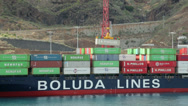 Stock Video Footage of container ship, unloading, santa cruz, la palma, spain