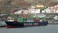 Stock Video Footage of container ship, santa cruz, la palma, spain
