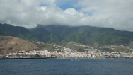Stock Video Footage of santa cruz from the sea, la palma, canary islands, spain