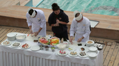 Sushi cookery demonstration on cruise ship Stock Footage