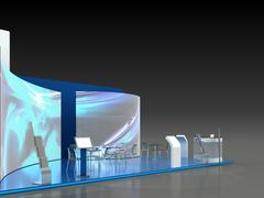 Exhibition Stand Interior - Exterior Sample Stock Illustration