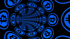 Through Bitcoin electronic money channel tunnel. Stock Footage