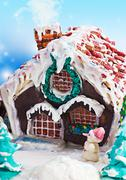 gingerbread house and scenery for a merry christmas - stock photo