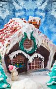 gingerbread house christmas decorations for the holiday - stock photo