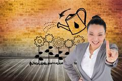 Composite image of smiling asian businesswoman pointing - stock illustration