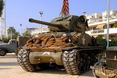 world war two tanks sherman - stock photo