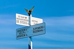 direction sign on top of the famous dutch posbank - stock photo