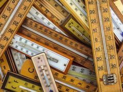 Group of vintage thermometers Stock Photos