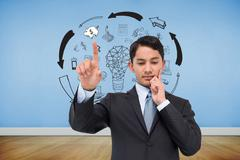 Composite image of thoughtful asian businessman pointing - stock illustration