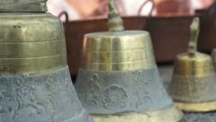 Decorative Brass Bells Dolly Stock Footage