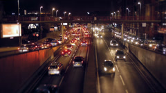 Stock Video Footage of City traffic at night.