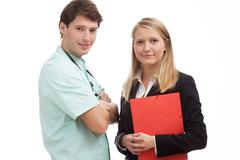 Stock Photo of partnership between a doctor and administration director