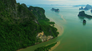 Stock Video Footage of Aerial view Phang nga bay sediment and emerald sea, Thailand