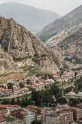 panoramic view of  amasya, turkey - stock photo