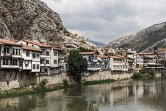 Traditional ottoman houses in amasya, turkey Stock Photos