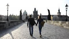 Prague, walking on charles bridge, backlight Stock Footage