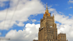Ministry of Foreign Affairs buiding in Moscow Russia time lapse - stock footage
