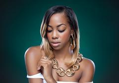 attractive black woman - stock photo