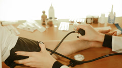 Measurement of blood pressure, close up Stock Footage